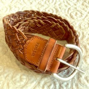 Fossil leather braided belt